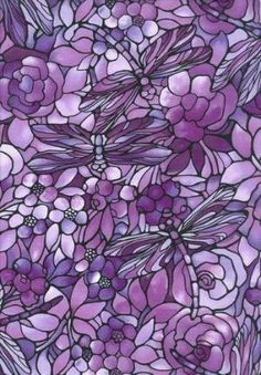 Dragonfly Floral Glass Art in pretty shades of lavender, violet & mauve!