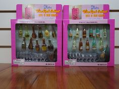 Gloria Barbie Doll Furniture / 96012 A/B Wine Rack Cabinet with 12 carafes Play Set #Gloria