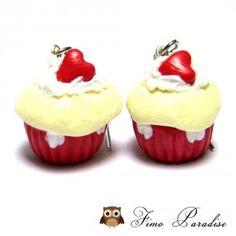 Boucles d'oreilles cupcake Valentine - Fimo Paradise - Bijoux gourmands fimo