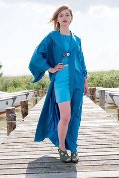 """Kimono 'Blaue Lagune' C18-001 einzigartiger Loden Kimono von der traditionsreichen Lodenmacherei """"Steiner 1888"""" Österreich, mit Muschelknöpfen, bodenlang, Couture, Duster Coat, Raincoat, Jackets, Dresses, Fashion, Del Mar, Blue Lagoon, Unique"""