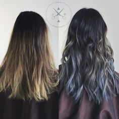 Before&After love this X-Men steel blue ombre.  #HairByJeffreyRobert #KutHausClaremont