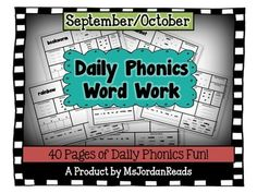 """This resource includes """"Daily Phonics"""" activity pages to use with your readers throughout the months of September/October (20 per month!).   Students will review short/long vowels, consonant blends, digraphs, diphthongs, r-controlled vowels, syllables, and more as they complete the activity tasks for each day. Students will also build automaticity with the different phonics patterns by writing the words, visualizing, unscrambling sentences, and hunting for the word inside of a word list."""