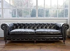 Chesterfield Sofa, Vintage Black Leather - traditional - Sofas - Interior HomeScapes