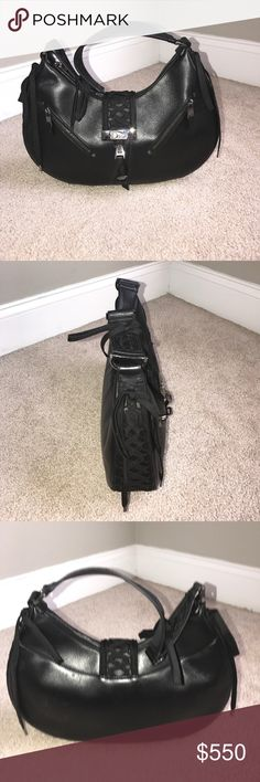 Christian Dior String Handbag Black Leather CD Handbag Christian Dior Bags Shoulder Bags