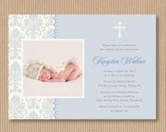 Items similar to Baby Boy Baptism or Dedication Invitation, I Customize You Print, Printable File - Peaceful Damask on Etsy