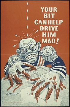 """""""Your bit can help drive him mad!"""" Office of War Information poster depicting Hirohito being tortured as he clutches at Australia, 1942 Ww2 Propaganda Posters, Political Posters, Information Poster, New Poster, Old Ads, Military Art, Military Signs, World War Ii, Vintage Posters"""