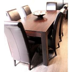 Homescapes - Dakota - 6' Dining Table with 6 Vibo Leather Scroll Back Chairs - Dark - 100% Solid Mango Hard Wood - ( No Veneer ) Hand Crafted Furniture: Amazon.co.uk: Kitchen & Home