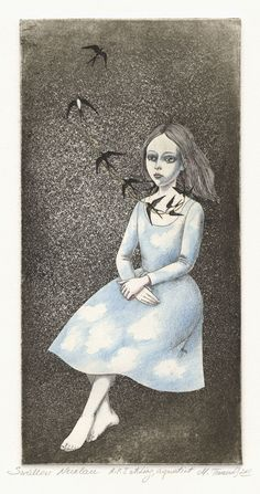 Swallow Necklace by Marina Terauds, etching, aquatint
