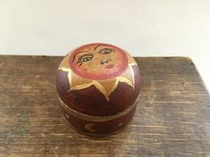 Vintage wooden trinket box Small wooden container Lidded tribal wood container Painted small storage