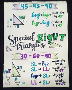 Special right triangles 💚💙💜📐middle & school geometry anchor charts are in the works! now i know many people do the order of operation… Teaching Geometry, Teaching Math, Geometry Activities, Math Activities, Teaching Ideas, Education Quotes For Teachers, Quotes For Students, Math Education, Special Right Triangle