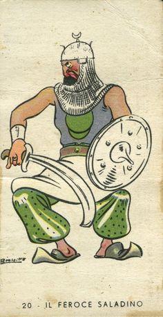 Il feroce Saladino, 1937 Su disegno di Angelo Bioletto Pubblicità Perugina, Perugia; Gio. & F.lli Buitoni, Sansepolcro Figurina dall'album I 4 Moschettieri