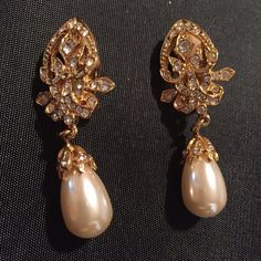 Spotted while shopping on Poshmark: Vintage Pearl and crystal earrings. Clip.! #poshmark #fashion #shopping #style #Vintage #Jewelry