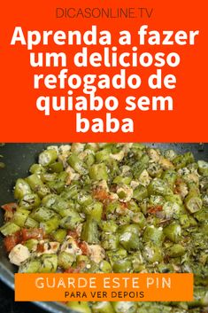 Quiabo receita Vegetarian Recepies, Healthy Recipes, Healthy Food, Green Beans, Spices, Food And Drink, Banana, Vegetables, Cooking