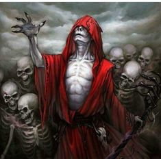 My first illustration for Fantasy Flight Game (Rune Age) A Necromancer leads a group of skeletons into battle Dark Fantasy Art, Arte Horror, Horror Art, Vampires, Angel Of Death, Dark Gothic, Grim Reaper, Dark Ages, Monster
