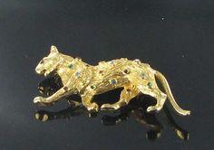 Rhinestone Leopard Cat Brooch Pin Red Green by vintagejewelrylane, $14.99