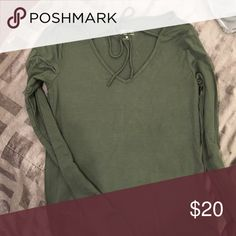 Hollister long sleeve with tie! Olive hollister Size XS. Top! Took off tags but never wore it. Hollister Tops Tees - Long Sleeve