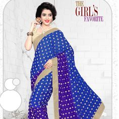 Girl's favorite from our ethnic collection of designer sarees! Shop Blue Versatile Saree.