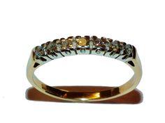 Fully Hallmarked 9ct Yellow Gold & Diamond 7 Stone Eternity Ring - UK Size M 1/2