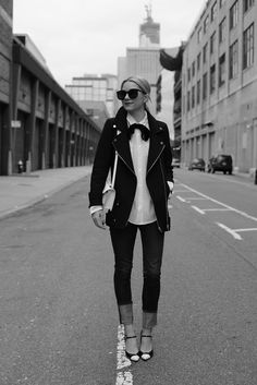 Jacket: Zara. Top: Equipment. Denim: J Brand. Shoes: Stuart Weitzman. Bow: ASOS. Sunglasses: Karen Walker Super Duper. Nails: Sally Hansen. Purse: Loeffler Randall c/o (also found here). Lips: Chanel Pirate.