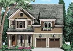 Thorndale House Plan - Check out the optional third floor of this smart family home: with so much space it could house a variety of recreational activities or perhaps a home based business. Narrow Lot House Plans, Two Story House Plans, Best House Plans, Dream House Plans, Cottage House Plans, House Floor Plans, French Country House Plans, Country Style Homes, Frank Betz
