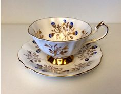 Queen Anne Tea Cup and Saucer - Pattern 5634 by GreenCarriageHouse on Etsy