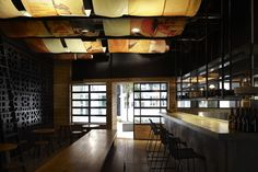 #restaurant #ceiling #cafe #bar #fabric #soft #diffused #panels #hanging #catenary #warm #textile