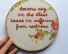 Embroidered Rap Lyrics: Paris by Kanye West - In Round Embroidery Hoop