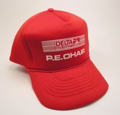 6d3a5bf9feb2b Vtg Retro Red Trucker Snapback Hat Retro Foam Cap P.E. O Hair Delta Faucet  Co.  Capital