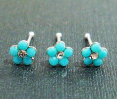 Turquoise Flower Tiny Nose Stud Bone Rings Ring Silver by owlstory, $5.00