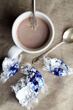 Make rich hot chocolate by melting supermarket truffles in hot milk.