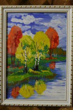 «Березы у воды». Живописное изображение осеннего пейзажа с использованием элементов аппликации. Мастер-класс с фото