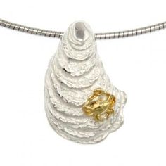 Maryland Crab Jewelry | Sterling Silver Oyster and Gold Crab Pendant