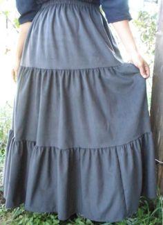 aa7eafd20d045 Ladies   Plus long full tiered skirt gray corduroy S M L XL 1X 2X 3X pick  size