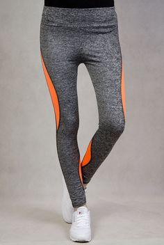 Szaro-pomarańczowe legginsy fitness