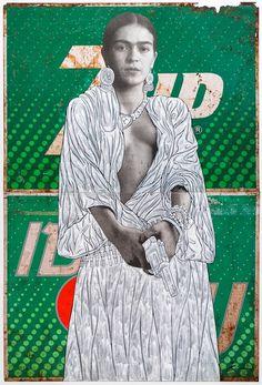 Frida with Gun on 7Up