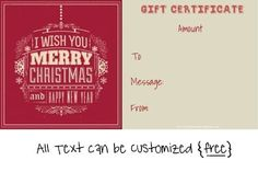 """greeting card which reads """"I wish you a merry christmas and a happy new year"""" Christmas Gift Certificate Template, Certificate Templates, Templates Printable Free, Gift Certificates, Christmas Messages, Merry Christmas, Christmas Gifts, Holiday Crafts, Holiday Ideas"""
