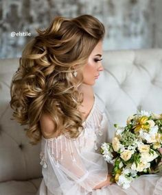 down wedding hairstyle idea via Elstile