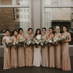 Different Bridesmaid Dresses, Dusty Blue Bridesmaid Dresses, Bridesmade Dresses, Gold Bridesmaids, Formal Dresses, Vintage, Evening Gowns, Wedding Shit, Wedding Ideas
