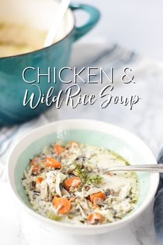 Chicken Wild Rice Soup is a delicious and creamy soup full of hearty ingredients. Really easy to make and perfect for any day of the week. Whole30 Soup Recipes, Fall Soup Recipes, Chicken Soup Recipes, Healthy Eating Recipes, Kitchen Recipes, Easy Dinner Recipes, Whole Food Recipes, Free Recipes, Healthy Food