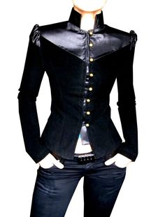 Gorgeous velvet and satin military inspired jacket.