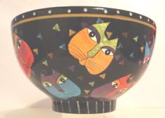 LAUREL BURCH: Large Cat Bowl Ceramic, collectible vintage, retired piece #Collectible
