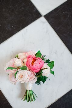 A Two-Part Wedding in London and Belize, Classic London Wedding, Pink Wedding Bouquet with Peonies and Roses