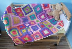 Klimtchen - Crazy Patchwork Baby Blanket, free downloadable crochet pattern & tutorial by Olivia Rainsford