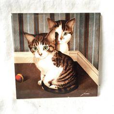 Ceramic Vandor Tile Vintage kitten Ceramic Porcelain Tile cat and kitten Motif lowell herrero