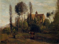 Jean Baptiste Camille Corot, The Church at Essommes, near the Chateau Thierry 1856 Almeida Junior, Robert Henri, Joseph Mallord William Turner, Jean Baptiste, Thierry, Camille Pissarro, Art Database, Oil Painting Reproductions, Paintings For Sale