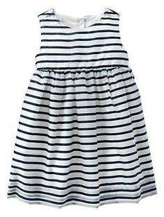 Navy striped dress for a sweet baby girl