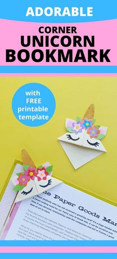 DIY Corner Unicorn Bookmark - Girls are all about unicorns these days. These adorable corner unicorn bookmarks with free template are the perfect craft project for girls. Bookmarks Kids, Bookmark Craft, Corner Bookmarks, Cute Kids Crafts, Diy Crafts For Girls, Diy For Kids, Preschool Crafts, Easy Art Projects, Sewing Projects For Kids