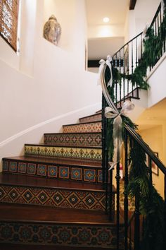 Spanish tile staircase- awesome for that something extra