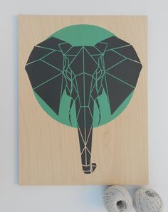 Cute Elephant on Plywood, Large Size, Original Art, Stencil Art, Geometric Elephant
