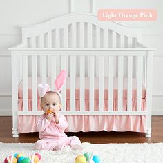 100/% cotton NEW pink cotbed//cot dust ruffle nursery, baby bedding skirt